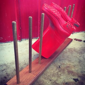 gumboot stand red boots