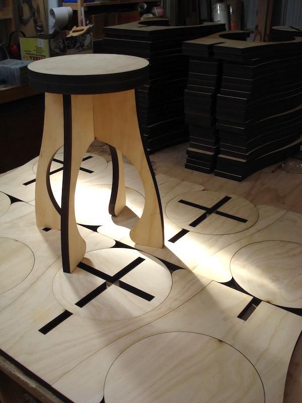 Flat Pack Stool Laser Cut Plywood