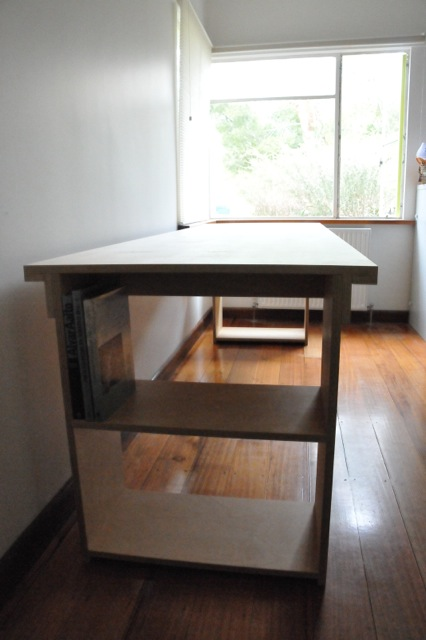 ply office table with shelves