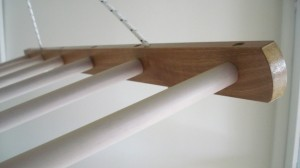 Pulley drying / airing rack, close-up of tannin sleeve