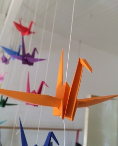 paper cranes at store
